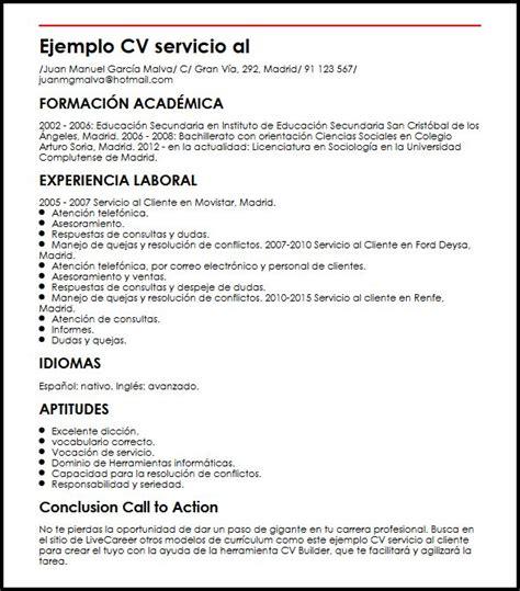 ejemplo cv atencion al cliente ejemplo cv servicio al cliente micvideal