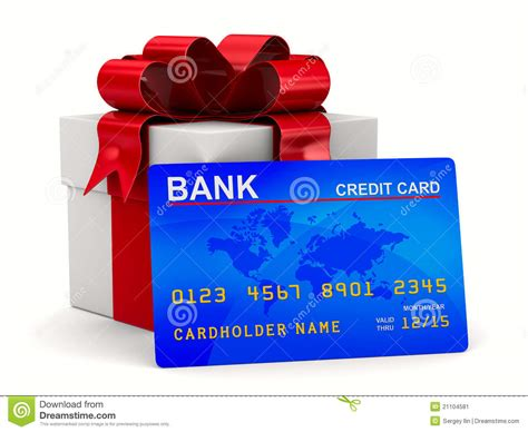 Credit Gift Cards - white gift box with credit card stock image image 21104581