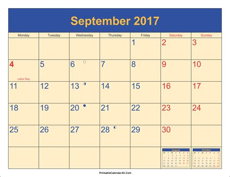 printable calendar 2017 september september 2017 calendar printable with holidays pdf and jpg