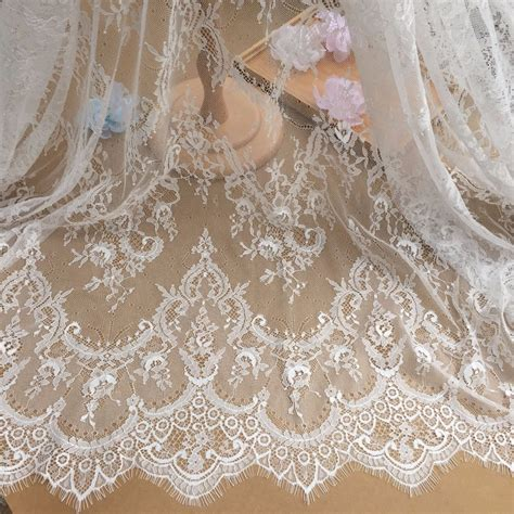 Beautiful Black/Off white Eyelash Lace Fabric ,Wedding