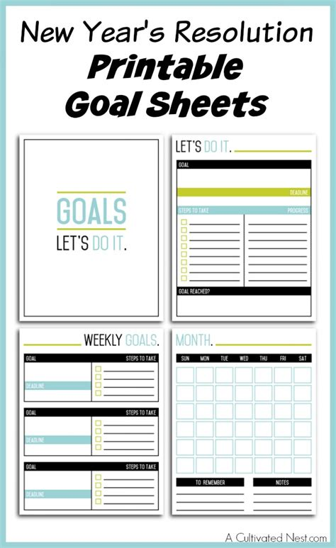 new year template printable new year s resolution printable goal sheets
