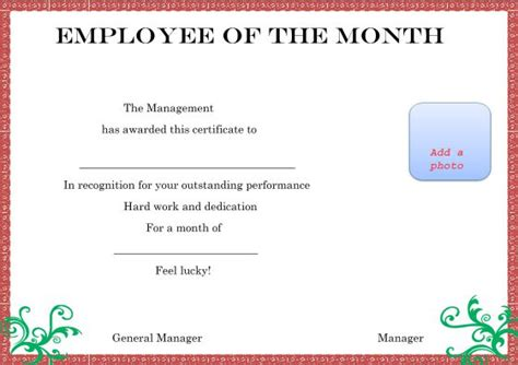 Employee Of The Month Certificate Template With Picture by And Employee Of The Month Certificate