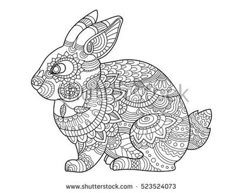 rabbit pattern drawing boston terrier french bulldog doodle coloring stock vector