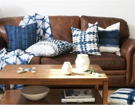 brown sofa with blue pillows 31 trendy shibori home decor ideas to try digsdigs