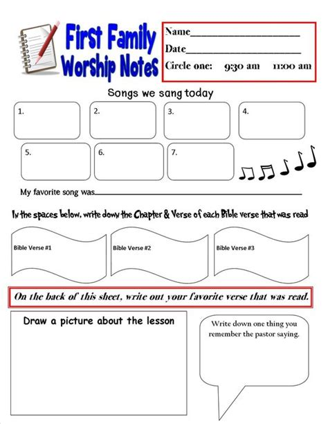 sermon notes template ideas kid and note on