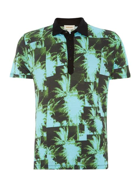 Tree Shirt diesel t jungle palm tree printed polo shirt in green for