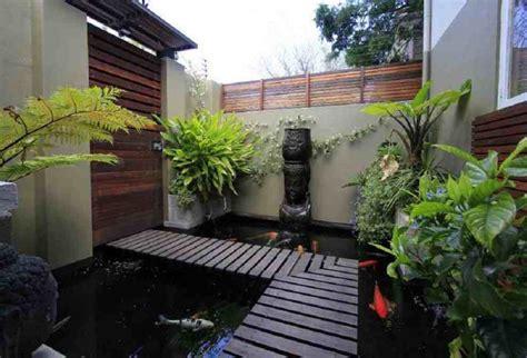 model desain kolam ikan koi minimalis eksterior rumah
