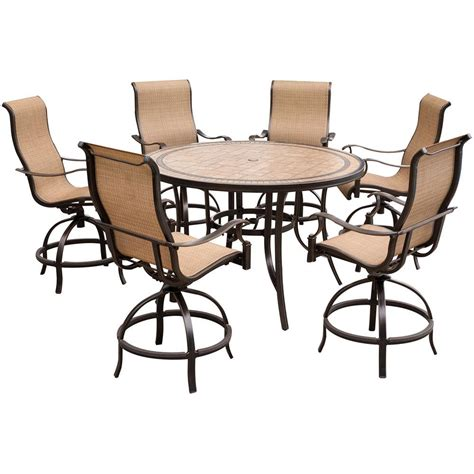 Patio Dining Table And Chairs Hanover Monaco 7 Outdoor Bar H8 Dining Set With Tile Top Table And Contoured Sling
