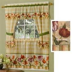 floral curtains 2 panels set blooming tulip poppy home kitchen curtain and blinds ideas kitchen curtain at