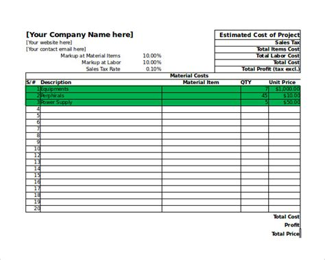 project estimation excel template project cost estimating template