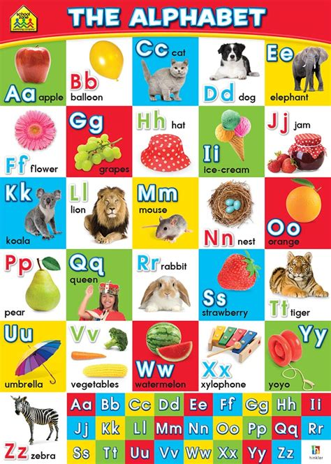 alphabet chart school zone wall chart the alphabet wall charts