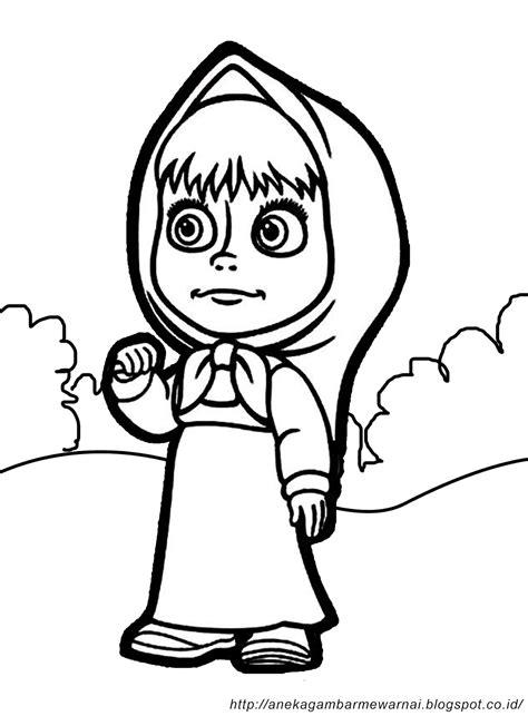 Sketsa Baju Elsa gambar mewarnai masha and the untuk anak paud dan tk