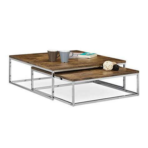 Couchtisch Holz Metall by Li Il Relaxdays Couchtisch Holz Flat 2er Set Natur Chrom