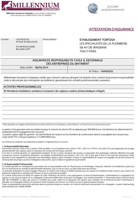modele attestation plombier document