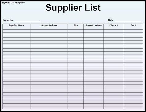 supplier list template list templates archives page 2 of 3 templates