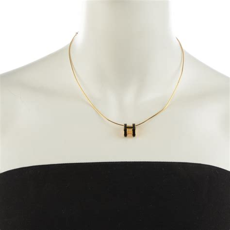 hermes lacquered gold pop h pendant necklace noir black 124316
