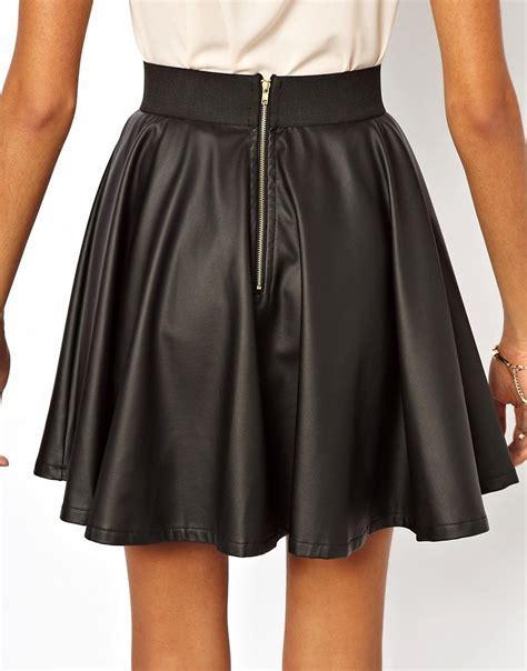 club l club l leather look skater skirt at asos