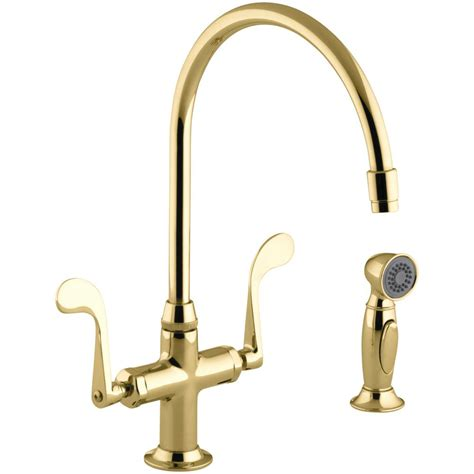 shop kohler essex vibrant polished brass 2 handle high arc kohler essex 2 handle standard kitchen faucet with side