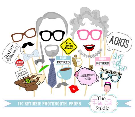 printable retirement photo booth props 27pc i m retired photo booth props retirement party
