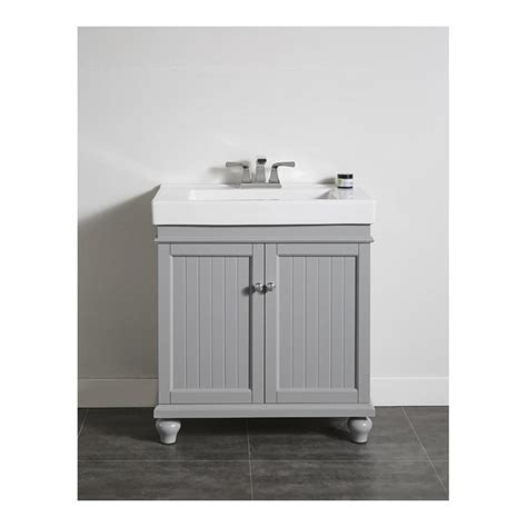 Ove Bathroom Vanity Shop Ove Decors Light Grey Integrated Single Sink Bathroom Vanity With Ceramic Top Common