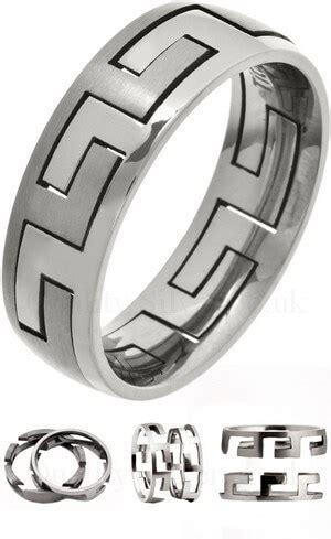 7mm mens 2 piece titanium puzzle ring ti27
