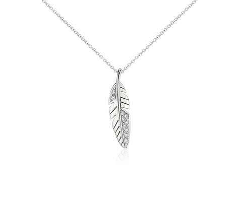 mini feather pendant in 14k white gold blue nile