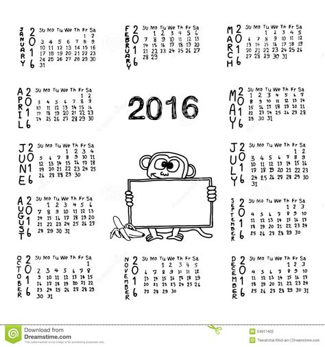 free calendar doodle doodles of calendar for 2016 with monkey holding white