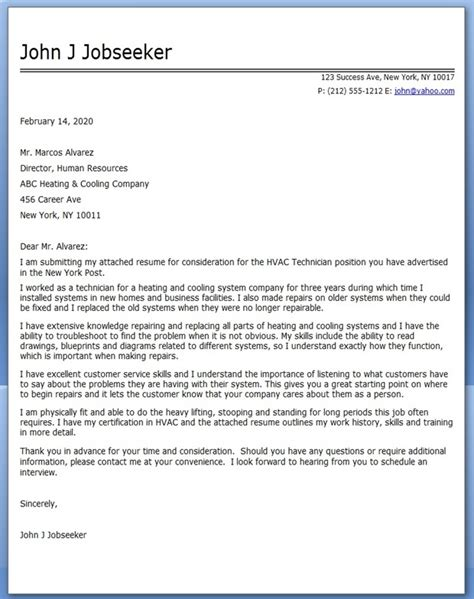 Office Technician Cover Letter by Hvac Technician Cover Letter Sle Resume Downloads