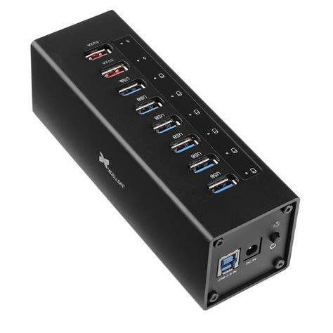 Usb Hub 8port xcellon 8 port powered usb 3 0 aluminum hub black usb