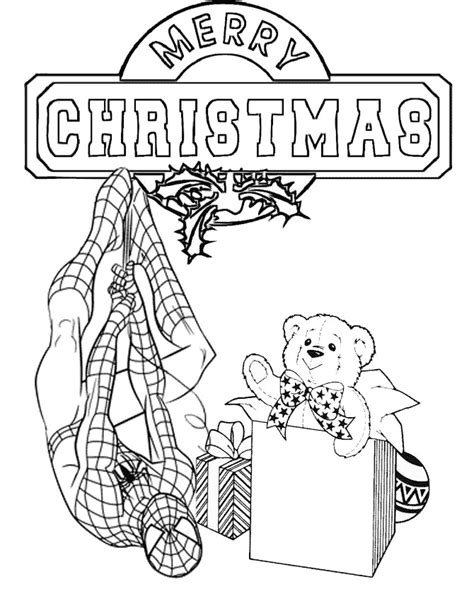 spiderman presents christmas coloring page h m