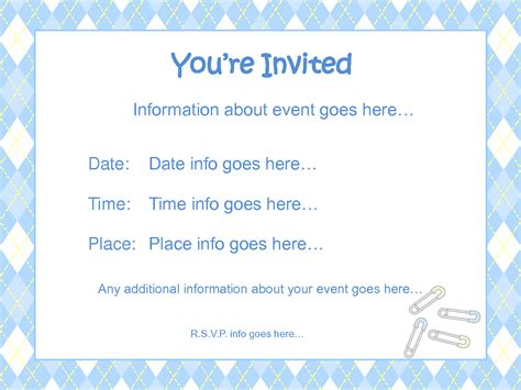 baby shower template invitation baby shower invitations for boy template best template