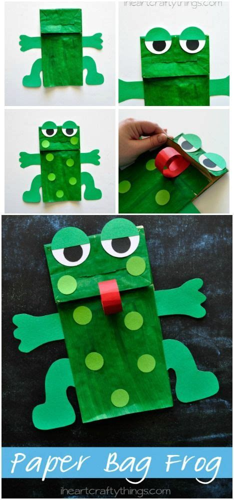 green craft paper bags frogs and crafts on