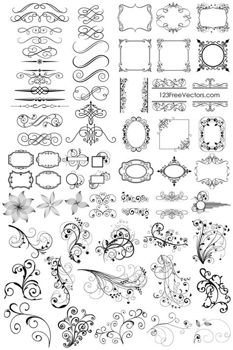 free font design elements free download 65 floral decorative ornaments vector pack