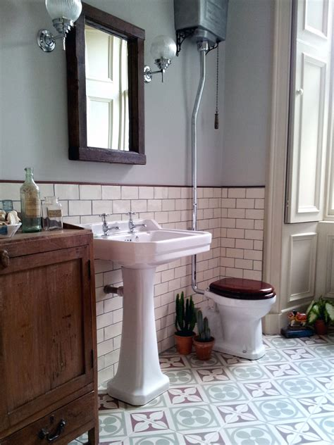 vintage bathrooms ideas edwardian encaustic tile floor with subway tile google