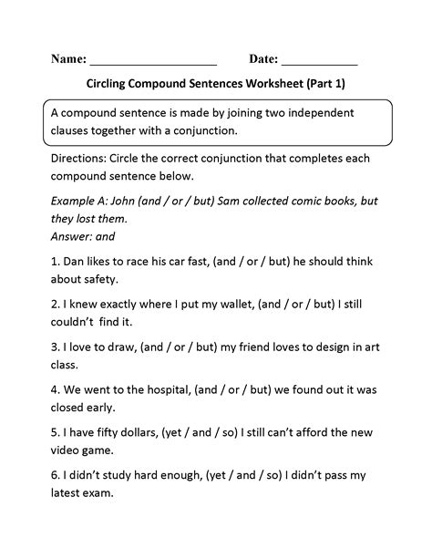 compound sentences worksheet www imgkid the image