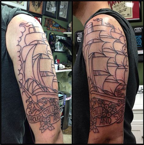 shane murphy tattoo session outline traditional clipper ship with