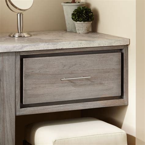 bathroom vanity with makeup 24 quot venica teak makeup drawer gray wash bathroom