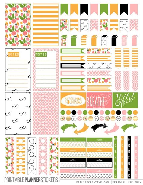 happy healthy life printable planner free printable kate spade floral planner stickers from fit