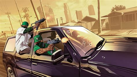 Full HD Wallpaper gta 5 submachine gun criminal, Desktop