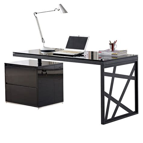 Modern Desks Krauss Desk W File Eurway Furniture Black Modern Desk