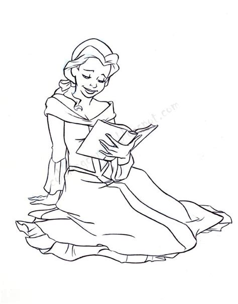 belle reading coloring page princess coloring pages