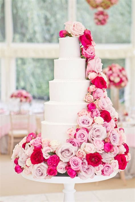 Wedding Cake Pink by Beautiful White Cake With Pink Flowers Photography