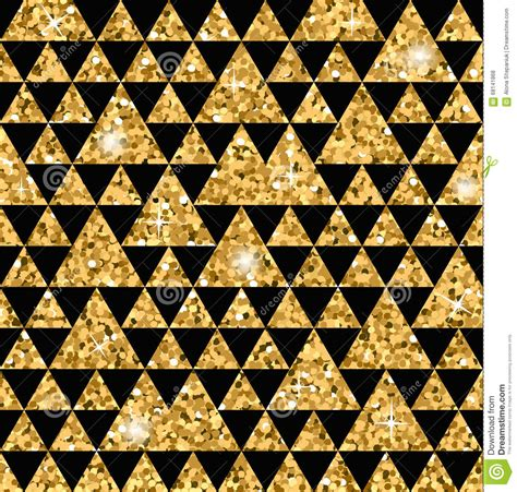 Triangle Seamless Pattern Black And Gold 1 Stock Vector
