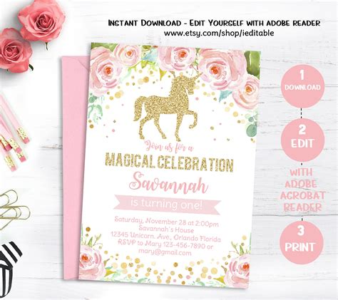 Unicorn Birthday Invitation Magical Unicorn Invite Floral Unicorn Birthday Invitations Template