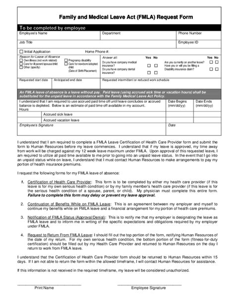 fmla form family and leave act fmla request form free