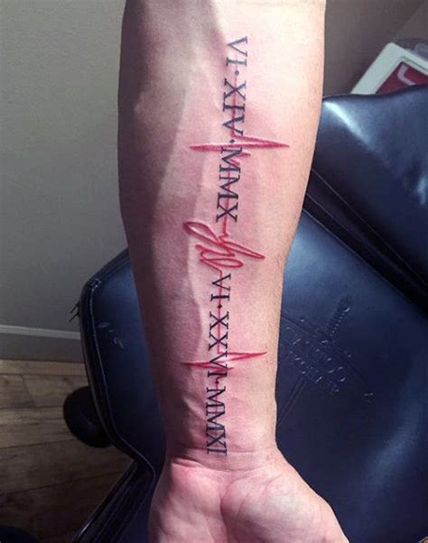 heartbeat with roman numerals tattoo 50 heartbeat tattoo designs for men electronic pulse ink