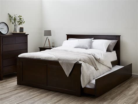 Minimalist Bed Frame Double Bed Trundle Hardwood Modern B2c Furniture