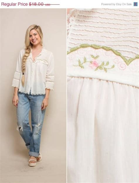 On Sale Boho Blouse Vintage 70s Bohemian White Paper Thin Shabby Chic Pajamas