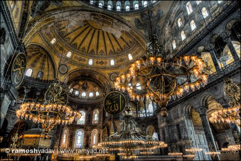 Long Hanging Chandeliers Hagia Sophia Istanbul Turkey 187 Architecture And