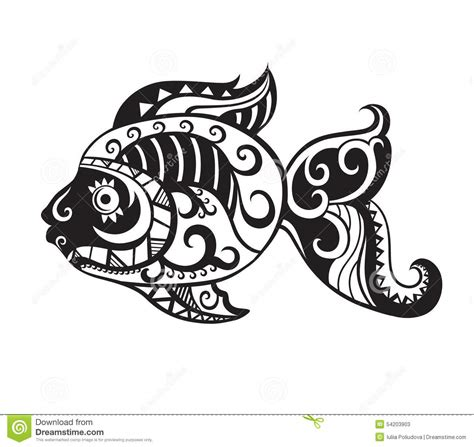 fish with ornaments in the style of the maori stock